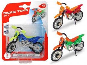 DICKIE Motocykl Cross Bike se stojánkem motorka krosová volný chod 3 barvy