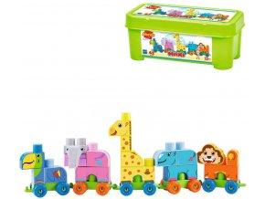 ECOIFFER Baby kostky Abrick Maxi vláček ZOO STAVEBNICE v boxu plast