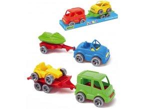 WADER Kid Cars Set 2 dopravní prostředky s přívěsem 24cm různé druhy