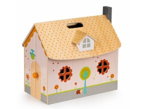 Eco toys Dřevěný domeček pro panenky s vybavením - bílý