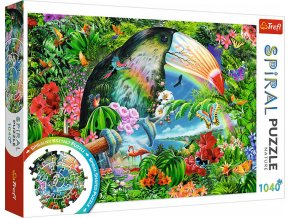 TREFL PUZZLE SPIRAL Tropická zvířata 68x48cm 1040 dílků skládačka