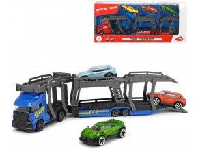 DICKIE Přeprava autíček set transportér 28cm + autíčko 3ks kov 2 druhy