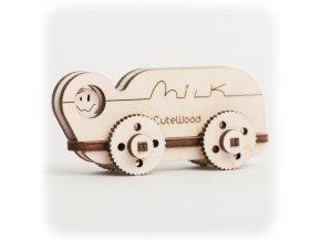 CuteWood Dřevěné 3D puzzle Kamion s mlékem