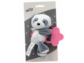 Tulilo Plyšová hračka s kousátkem Medvídek Panda, 15 cm - růžový