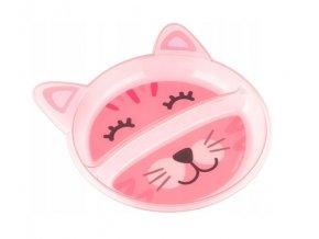 Canpol babies Plastový talířek dvoukomorový - Kočička