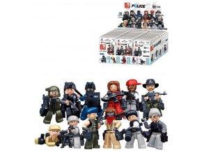 SLUBAN POLICE Mini figurka policista 12 druhů set s doplňky ke stavebnici plast