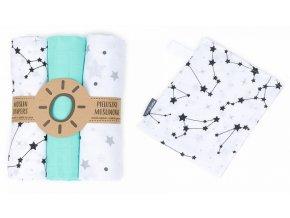 Mamo Tato Mušelínové plenky 3ks + žínka zdarma - hvězdičky, máta, galaxie