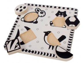 Bigjigs Toys Dřevěné vkládací puzzle - Tvary, černobílé