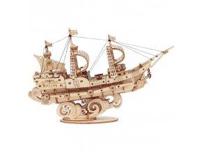 RoboTime dřevěné 3D puzzle Vojenská plachetnice