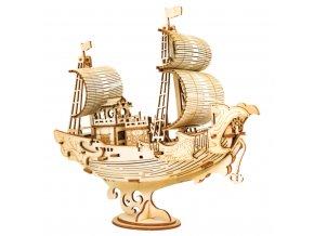 RoboTime dřevěné 3D puzzle Japonská plachetnice