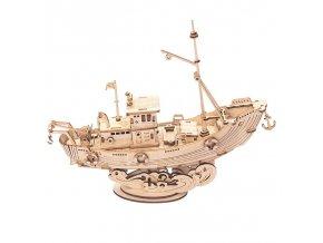 RoboTime dřevěné 3D puzzle Rybářská loď
