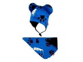 Bexa dvouvrstvá čepice na zavazování s oušky + šátek - Tlapky, granát