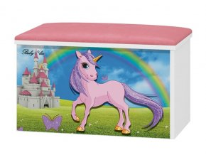BabyBoo Box na hračky s motivem Unicorn + čalouněné sedalo
