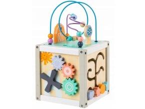 Eco toys Edukační dřevěná kostka s labyrintem 5 v 1 - labyrint