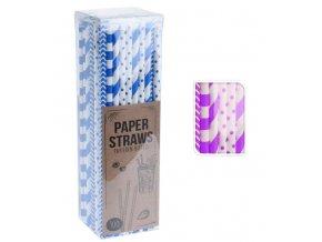 Brčko papírové 20cm sada 100 ks fialová