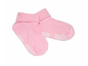 Kojenecké ponožky Risocks protiskluzové - sv. růžové, 12-24m