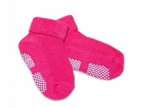 Kojenecké ponožky Risocks protiskluzové - tm. růžové, 12-24 m