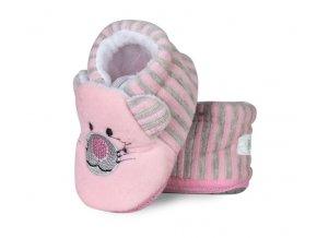 Botičky/capáčky/papučky 12-18m Risocks Kočička s proužky, růžové