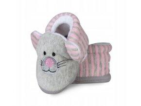Botičky/capáčky/papučky 12-18m Risocks Kočička s růžovými proužky - šedá