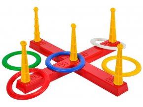 ANDRONI Hra baby házení kroužků na kříž 47x47x17cm plast v síťce