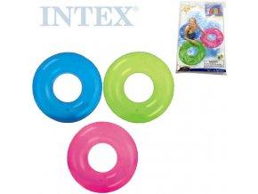 INTEX Kruh plavací 76cm nafukovací kolo transparentní do vody 3 barvy 59260