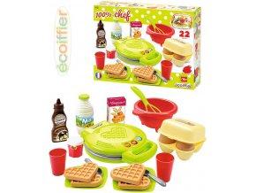 ECOIFFIER Vaflovač dětský srdce výroba vaflí set s potravinami a nádobím plast