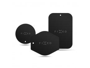 Magnetický držák FIXED Icon Plates sada náhradních plíšků k magnetickým držákům, černá