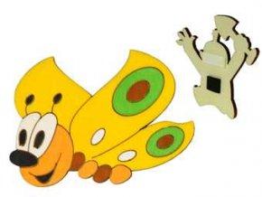 DoDo Dřevěná dekorační magnetka motýl žlutý