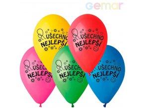 GEMAR Balónky nafukovací 26cm potisk VŠECHNO NEJLEPŠÍ různé barvy set 10ks