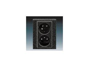 5426 zasuvka dvojnasobna s clonkami natocena onyx kourova cerna 5513h c02357 63