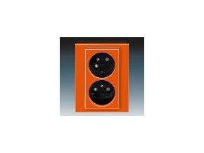 5429 zasuvka dvojnasobna s clonkami natocena oranzova kourova cerna 5513h c02357 66