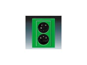 5430 zasuvka dvojnasobna s clonkami natocena zelena kourova cerna 5513h c02357 67