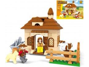 108591 ausini stavebnice farma domek 168 dilku 2 figurky plast