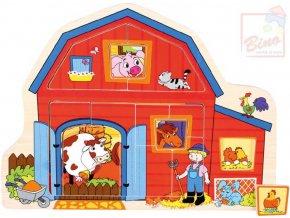 110484 bino drevo baby puzzle farma 13 dilku vkladacka domecek