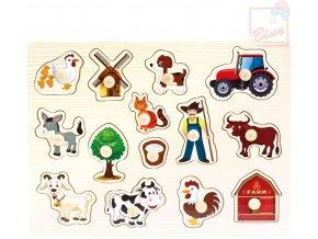 110481 bino drevo baby puzzle farma 14 dilku vkladacka pro miminko