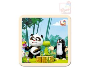 110601 bino drevo puzzle krtecek krtek a panda v lese 4 dilky