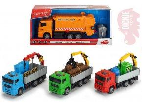 DICKIE Auto Haevy City Truck 22cm funkční set s doplňky 4 druhy plast