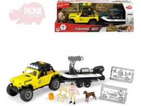 105135 dickie auto jeep set s rybarskym clunem s figurkou a doplnky na baterie svetlo zvuk