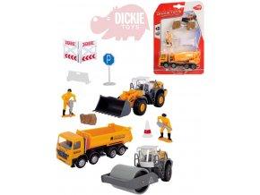 DICKIE Auto stavební 13cm na volnoběh set s doplňky plast 4 druhy