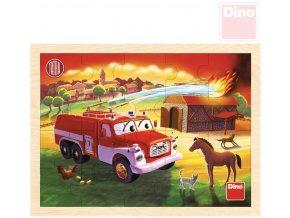 113217 dino drevo puzzle deskove tatra hasici 20 dilku skladacka v ramecku