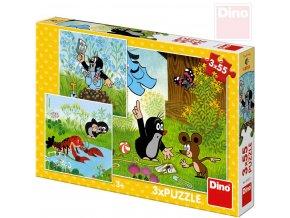101727 dino puzzle 3x55 dilku krtek a kalhotky krtecek 18x18cm skladacka 3v1
