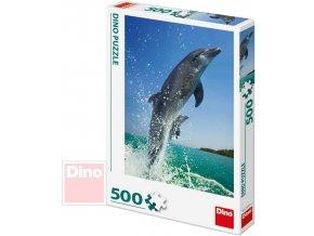 113184 dino puzzle 500 dilku foto delfini 33x47cm skladacka v krabici
