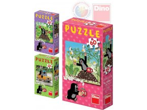 116778 dino puzzle jak krtek uzdravil mysku krtecek 24x22cm set 60 dilku 6 druhu