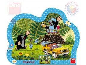 117588 dino puzzle obrysove krtek krtecek se zlutym autem 31x23cm skladacka 25 dilku
