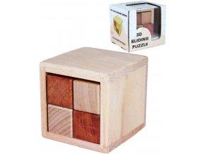 109008 drevo hlavolam posuvny 3d krychle v krabicce drevene hracky