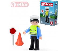 114189 efko igracek dopravni policista s doplnky v krabicce stavebnice