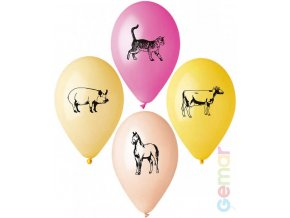 109317 gemar balonek nafukovaci 26cm pastelovy potisk farma ruzne barvy 1ks