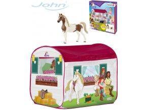 JOHN Stan dětský domeček koňská stáj 100x70x80cm set s figurkou koníka