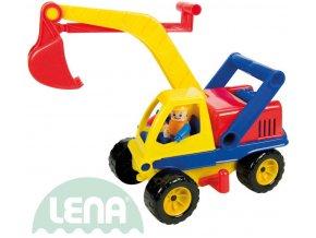 LENA Aktivní plastový bagr 35cm set s řidičem funkční 4151