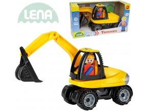 LENA Truckies bagr 25cm set baby autíčko + panáček 01621 plast